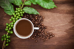 Cup coffee and beans on wood background Royalty Free Stock Image