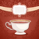Cup of coffee. Beautiful brown background with a cup of coffee and a frame with space for text Royalty Free Stock Images