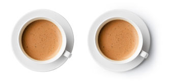 Cup of coffee with beautiful foam  top view. Cup of coffee with beautiful foam  on white, top view Stock Image