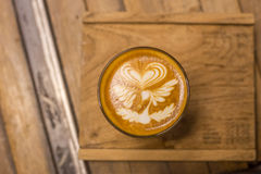 Cup of coffee. With beautiful Latte art Stock Images