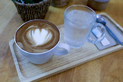 Cup of coffee with beautiful Latte art Royalty Free Stock Images