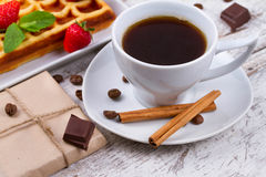 Cup of coffee, Belgium waffle and strawberries. Stock Photo