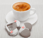 Cup coffee bikini underwear gingerbread cake cookie on bamboo mat Royalty Free Stock Photos