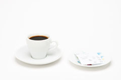 Cup of coffee with bill Stock Photo