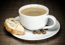 Cup of coffee and biscotti Royalty Free Stock Images