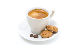 Cup of coffee and biscotti, isolated stock photography