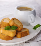 Cup of coffee biscotti Stock Photos