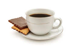 Cup of coffee and biscuit Stock Images