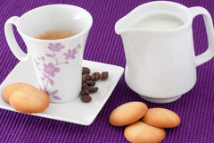 Cup of coffee with biscuits Stock Photography
