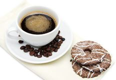 Cup of coffee and biscuits Royalty Free Stock Photo