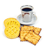 Cup of coffee and biscuits Royalty Free Stock Images
