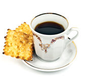 Cup of coffee and biscuits Stock Image