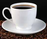 Cup of coffee at black Stock Photo