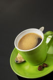 Cup of coffee on black Royalty Free Stock Photography