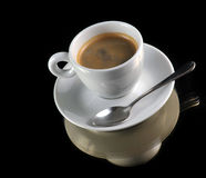 Cup of coffee on the black Royalty Free Stock Photography