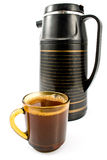 Cup of coffee with black thermos Royalty Free Stock Photo