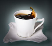 Cup coffee black. White coffee cup of black coffee Royalty Free Stock Images