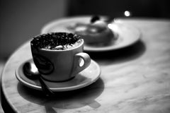Cup of coffee in black and white Royalty Free Stock Images
