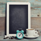Cup of coffee with blackboard Stock Photography