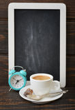Cup of coffee with blackboard Royalty Free Stock Images