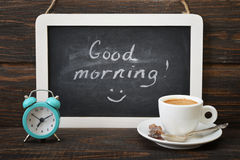 Cup of coffee with blackboard Royalty Free Stock Photo