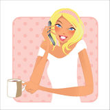 Cup of coffee- blond woman Stock Photo