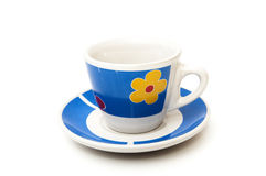Cup of coffee in blue Stock Images