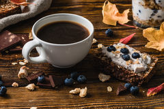 Cup of Coffee with Blueberry Toast. For Tasty Breakfast stock images