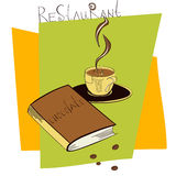 A cup of coffee with book Stock Images