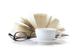 Cup of coffee and book Stock Photo