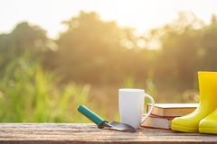 Cup of coffee, book, and garden equipment on wooden table with s royalty free stock photos