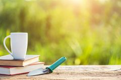Cup of coffee, book, and garden equipment on wooden table with s royalty free stock images