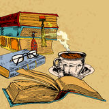 Cup of coffee and books. Vintage books with cup of coffee colored sketch decorative concept vector illustration Stock Photography