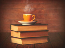 Cup of coffee and books Royalty Free Stock Images