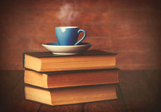 Cup of coffee and books Royalty Free Stock Photo