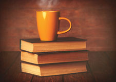 Cup of coffee and books Royalty Free Stock Image