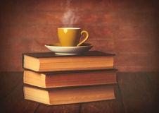 Cup of coffee and books Stock Photo