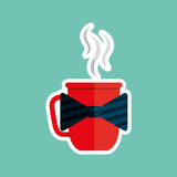 cup of coffee with bow tie design Stock Photos