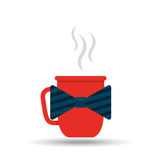 cup of coffee with bow tie design Stock Image