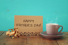 Cup of coffee with bow tie. Father& x27;s day concept Stock Photo