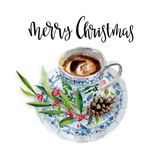 Cup of coffee with branch, fir cone, and phrase `merry Christmas`. Watercolor hand-drawn object isolated on white Stock Image