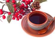 Cup of coffee and branch of hawthorn, breakfast background Royalty Free Stock Image