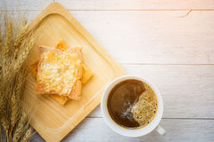 Cup of coffee and  bread, barley Royalty Free Stock Images