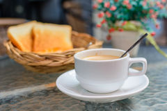 Cup of coffee with bread Royalty Free Stock Photography