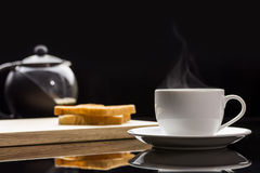 Cup of coffee and breads. Breakfast with coffee and breads Stock Photos
