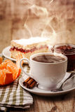 Cup coffee breakfast and cake Stock Images