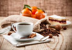Cup coffee breakfast rustic style Royalty Free Stock Photo