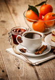 Cup coffee breakfast rustic style Stock Image