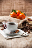 Cup coffee breakfast rustic style Stock Photos