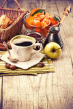 Cup coffee breakfast rustic style Stock Photography
